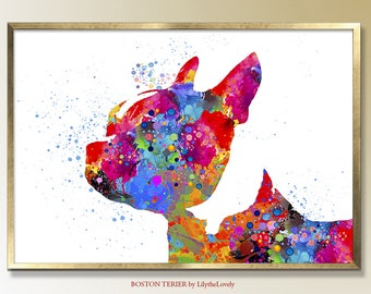 Boston Terrier, Boston Terrier Art, Boston Terrier Gifts,   Prints, Room Decor. Boston Terrier, Gift for Her, Custom Dog Painting, Terrier