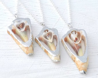 Real Sea Shell Necklace, Triangle Shell Pendant, Geometric Necklace, Beach Necklace, Beach Jewelry, Shell Jewelry, Nature Jewelry