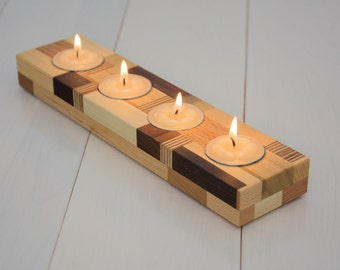 Wood candle holder. Tea light candle holder. Home decor. Reclaimed wood. Home accents. Modern. Wooden candles holders.