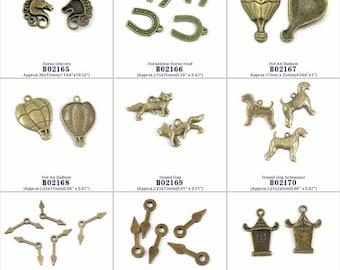 Jewelry Making Charms Pendant Horse Unicorn Horseshoe Hoof Hot Air Balloon Hound Dog Schnauzer Hour Minute Hand House Findings Jewellery