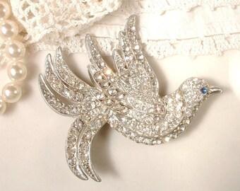 1920s Bird Brooch OR HaiR CoMb Antique Art Deco Headpiece Rhinestone Bird Bridal Hair Comb, Vintage Large Silver Dove Sash Pin or Hairpiece