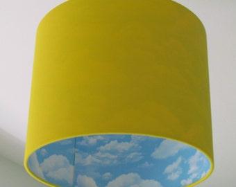NEW Handmade Bright Yellow and Sky Blue Cloud Drum Lampshade Lighshade