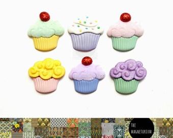 Cupcake Magnets [Fridge Magnets, Fridge Magnet Sets, Refrigerator Magnets, Magnet Sets, Office Decor, Kitchen Decor, Magnetic Board]