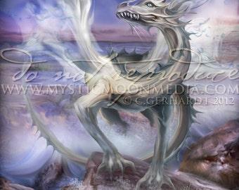 Elemental Dragons Collection.. WATER Dragon... Print... Fantasy Art...White Dragon