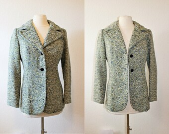 1970's Green Tweed Wool Jacket Small Size Vintage Retro 70's Tami of California Preppy College School Office Hipster