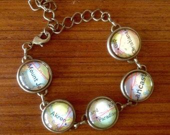CLEARANCE! Vintage map bracelet Amish country map pieces / bronze tone bracelet / Lancaster  county