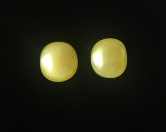 Vintage Clip Earrings, Yellow, Convex, Round