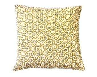 Nila Handscreen Printed Cushion Cover - Golden Yellow 40x40cm