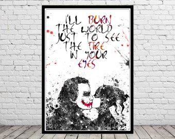 Harley Quinn and Joker inspired, Harley Quinn and Joker,Watercolor Print,Superhero, Wall Art,Poster, kids Room decor(1835b)