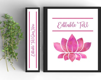 Lotus Flower Binder Cover-Personalized Binder Inserts and Spines (8.5x11in)- Printable Binder Covers-Editable