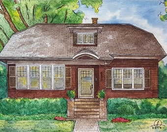 Artist rendering of your house, Drawing from photo, First home watercolor portrait, Watercolor House Portrait, Home architectural sketch