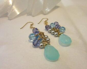 Agate jewelry Chalcedony earrings Aqua chalcedony cluster earrings Agate Earrings aqua and tanzanite earrings