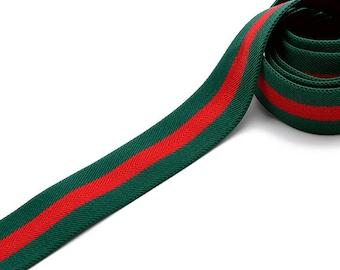 "1-9/16"" (40mm) Elastic Stretch Band Ribbon Trim for headband, hand band and waist belt, 1-yard, Green/Red, TR-11592"