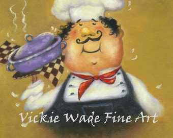 Fat Chefs Art Print, fat chef kitchen art, kitchen decor, chef paintings, chef prints, purple pot chef, cook, whimsical, Vickie Wade Art