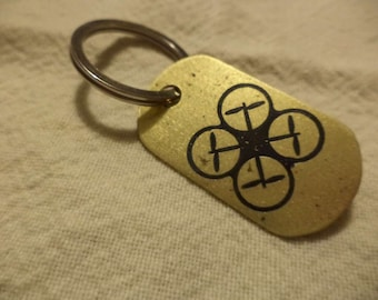 Quadcopter Etched Brass Keychain