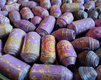 Hand Rolled Chunky Paper Beads. Purple mixed lot with Glitter accents. Barrel/Bicone Style's 12 pcs. + 2 bonus beads e-003