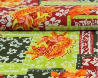 Orange bi-stretch printed jersey fabric