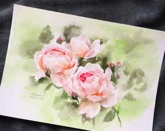 "Original flower watercolor,blooming roses,original painting,8""3x11""8,aquarelle originale,garden,home decor"