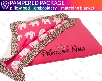 Princess Dog Bed with Blanket - Embroidery with Tiara | Design Your Own!  |  Pink, Leopard, Hot Pink
