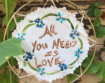 "All You Need Is Love Doily Mandala Suncatcher 7"""