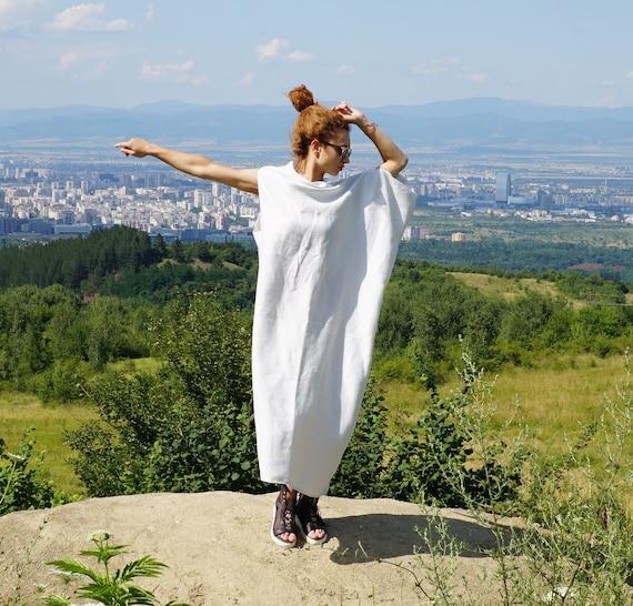 Linen Maxi Abaya Dress, Lightweight linen caftan, White Summer Dress Tunic, Loose Oversized Dress, Off Shoulder Dress