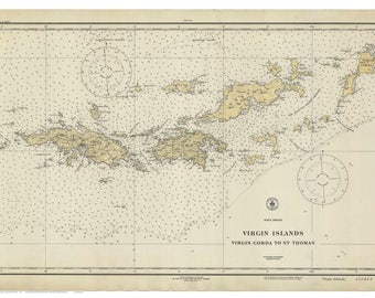 virgin gorda to st thomas 1921 nautical map virgin islands reprint ac harbors custom