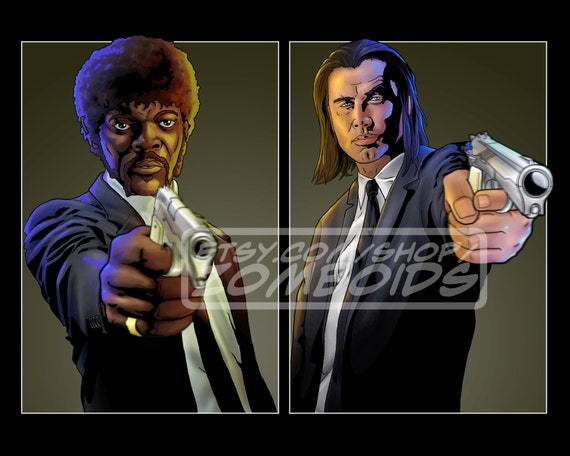 Pulp Fiction Jules and Vincent (Sam Jackson and John Travolta) Print poster Choose Size