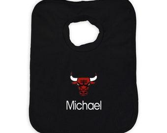 Personalized Chicago Bulls Baby Bib Black