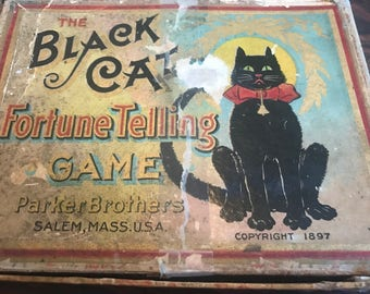Victorian Fortune Telling Game - 1897 Black Cat Fortune Telling Game by Parker Brothers made in Salem Massachusetts