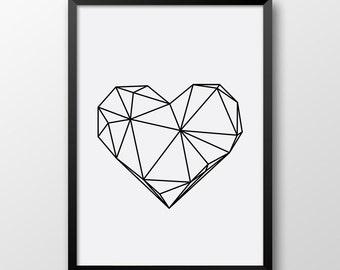 Geometric Heart Print, Scandinavian art, printable poster, Heart Print, Black and white home decor 172