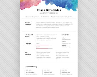 Resume Template / CV Template + Cover Letter For MS Word And Photoshop |  Instant Digital