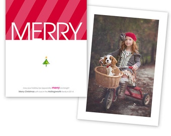 Christmas Card Photoshop Template - 5x7 Flat Two-Sided Card  - 1174