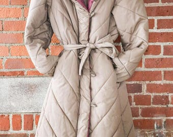Down filled quilted vintage coat