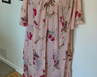 Vintage Pink Bohemian Mid-Century Holland! Maternity Dress Summer Cover Up --- Retro Maxi Hippie Clothing --- Plus Size Flower Child Fashion