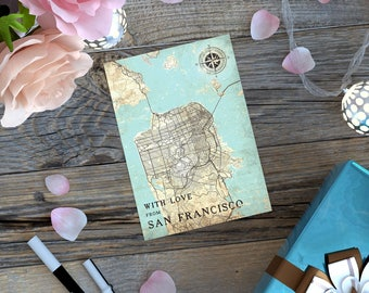 SAN FRANCISCO Gift Card Postcard CA California San Francisco Sf Vintage map Post Card Thank you Note Greeting Card Gift Print Map Wall Art