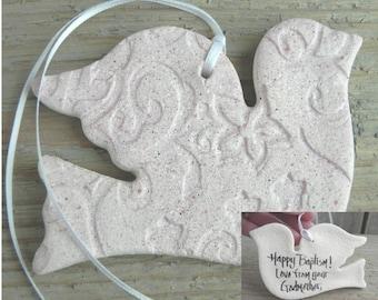 Dove Baptism Gift / Christening / Wedding Favor Imprinted Salt Dough Heart Ornament