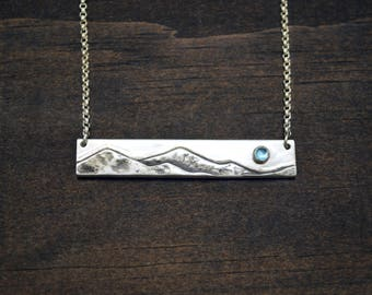 Mountain Bar Necklace with Swiss Blue Topaz Gemstone - Wild and Free Quote - Sterling Silver Mountain Range - December Birthstone