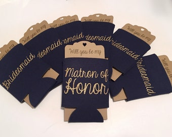 Bridesmaid Proposal Can Cooler Navy   Will you be my Maid of Honor Bridesmaid   Bridal Party