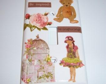 Victorian Inspired Single Lightswitch Cover, Little Girls Room, Birthday Gift, Birdcage, Little girl, Rose, Inspirational Phrases