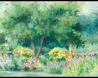 """Garden painting """"Roadside Garden"""" watercolor giclee print 5x7."""
