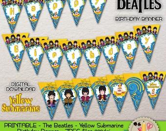PRINTABLE - The Beatles - Cute cartoon - Yellow Submarine - John Lennon, Paul McCartney, George Harrison, Ringo Starr - Birthday Garland