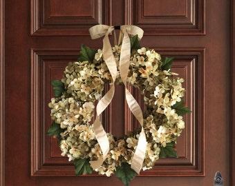 Beautiful Hand Blended Hydrangea Wreath | Spring Wreath | Front Door Wreaths | Green and Cream Hydrangeas | Wreath | Housewarming Gift