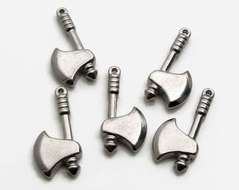 Tomahawk Charm, Stainless Steel Hatchet Pendant - Set of 5 SST Findings 11x22x4mm, Steel Hatchet Charm, Double Sided Charm, tool charm