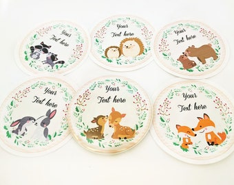 Woodland pocket mirror Baby shower favors Fall pocket mirror gift Button pocket mirror Party favors 2.25 inch