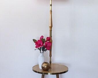 Vintage Maple & Brass Standard Lamp Table with Handmade Vintage Fabric Shade, retro, mid century, mid century modern