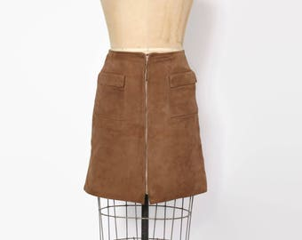 Vintage 60s Suede MINI SKIRT / 1960s High Waist Zip Front Leather Cocoa Brown Skirt
