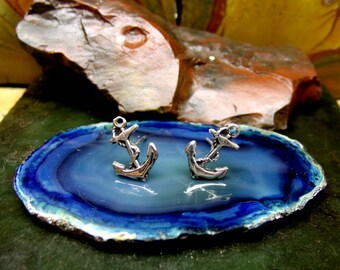 ANCHOR STUD Earrings Sterling Silver Free Domestic Shipping