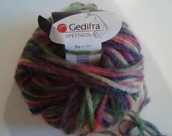Pincushion 50 g of wool mohair multicolor Gedifra Spetacollo - needles/crochet 10 - 50 g