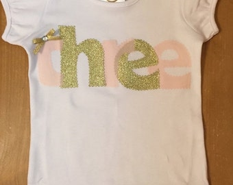 Pale Pink and Gold Birthday Shirt or Baby Bodysuit