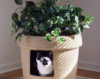 Sandalwood Tan Sandstone Decor Ivy Cat Hidden Litter Box With LINER PAN